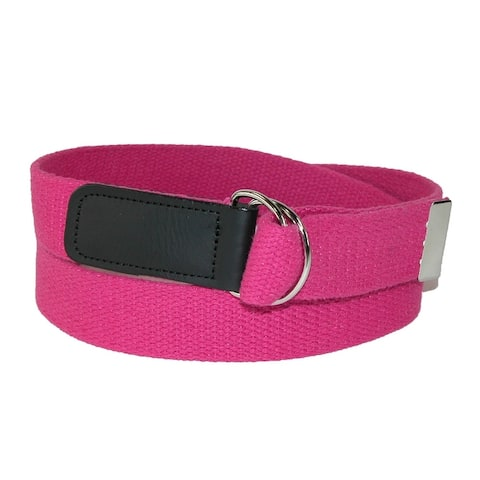 CTM® Plus Size Cotton Web Belt with Double D Ring Buckle - one size