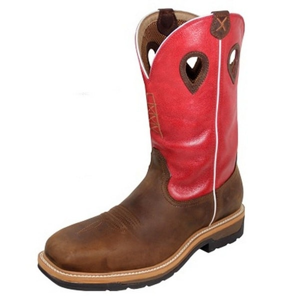 Twisted X Work Boots Mens Cowboy Lite ST Square Red Brown