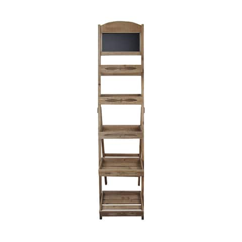 Rustic 5 Tier Ladder Shelving Unit with Chalkboard - 16.2 W x 29 D x 68 H