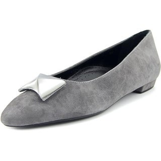 Vaneli Gaenor Women Pointed Toe Suede Gray Flats