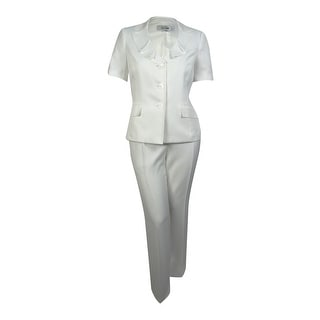 Le Suit Women's Palm Beach Ruffled Lapel Pant Suit