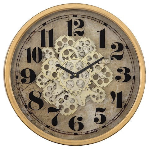 Gold Round Gear Clock - 18.3 x 18.3 x 4.1