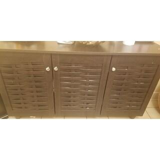 Strick & Bolton Vadym Dark Brown 3-door Shoe Cabinet