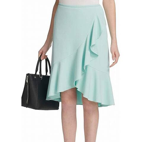 Calvin Klein Womens Blue Size 12P Petite Asymmetric Ruffle Tulip Skirt