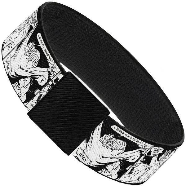 "Alice & Cheshire Cat Scene Blocks Outline White Black Elastic Bracelet 1.0"" Wide"