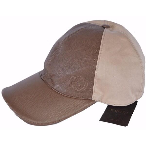 9097aa691fe25 Gucci Men  x27 s 337798 Interlocking GG Calf Leather Canvas Baseball Cap Hat  XL
