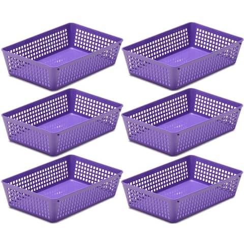6-Pack Plastic Storage Baskets for Office Drawer, Classroom Desk