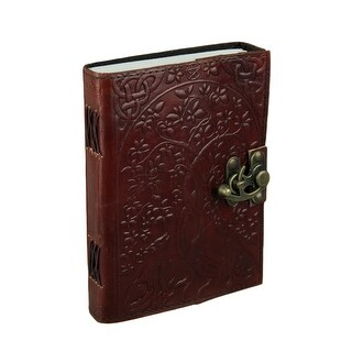Howling Wolves Tree of Life Embossed Leather Bound Journal w/ 240 Unlined Pages