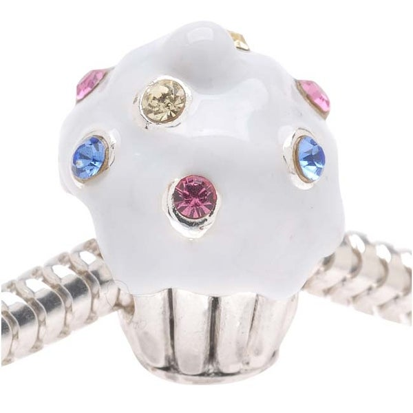 Silver Plated Large Hole Cupcake Bead - White Enamel Adorned With SWAROVSKI ELEMENTS Crystals