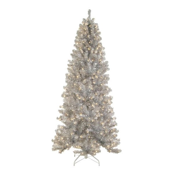 6.5' Pre-lit Silver Tinsel Noble Pine Artificial Christmas Tree - Clear Lights
