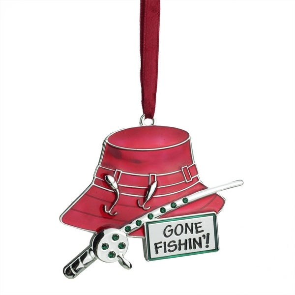 """3.5"""" Regal Silver-Plated Red Fishing Holiday Ornament with European Crystals - silver"""