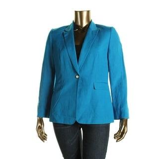 Tahari ASL Womens Jay Linen Peak Collar One-Button Blazer - 14