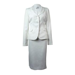 Le Suit Women's Woven Metallic Vienna Skirt Suit