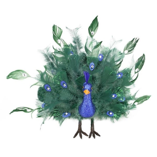 """14"""" Colorful Green Regal Peacock Bird with Open Tail Feathers Christmas Decoration"""