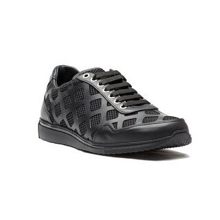 Versace Collection Men's Laser Cut Leather Mesh Sneaker Shoes Black