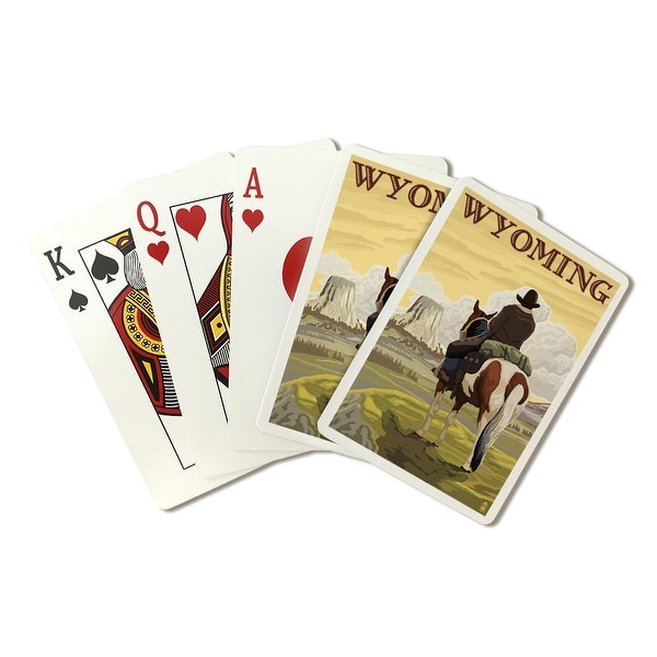 WY - Cowboy and Devils Tower - WY - LP Artwork (Poker Playing Cards Deck)