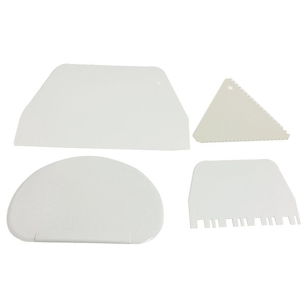 4x White Plastic Cake Cutter Smoother Scraper Set DIY Tool. Opens flyout.