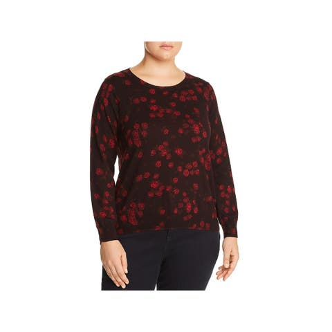 MICHAEL Michael Kors Womens Plus Pullover Sweater Floral Ribbed Trim - 3X