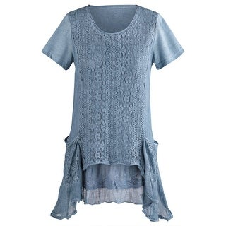 Women's Long Tunic Top - Blue Crochet Embroidered Lace Pockets Blouse