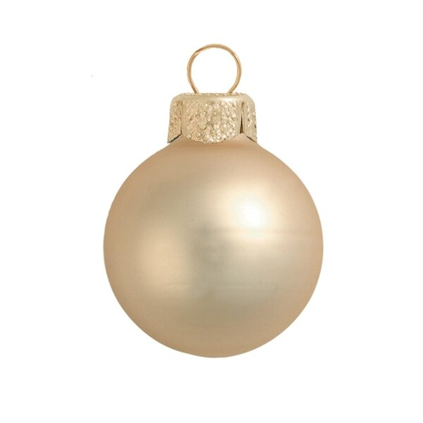 """2ct Matte Champagne Glass Ball Christmas Ornaments 6"""" (150mm) - GOLD"""