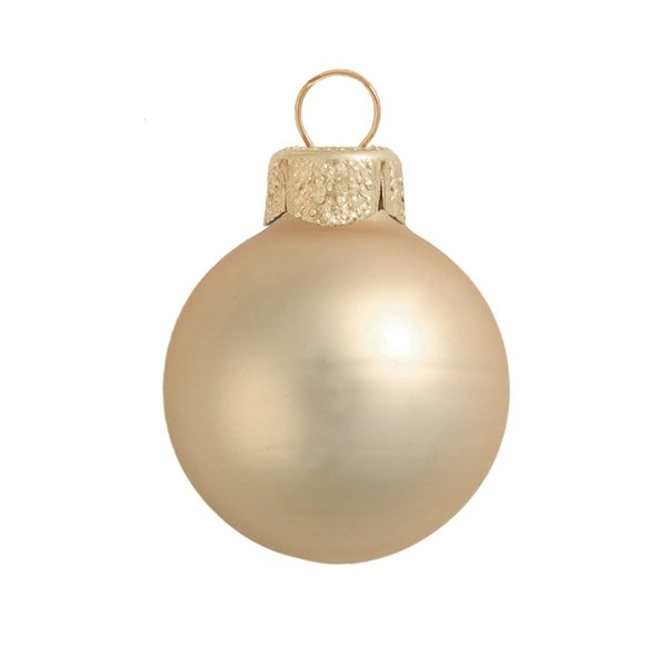 "6ct Matte Champagne Gold Glass Ball Christmas Ornaments 4"" (100mm)"