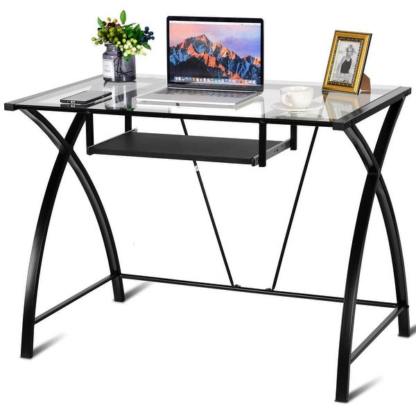 Shop Costway Clear Glass Top Computer Desk W/ Pull-Out