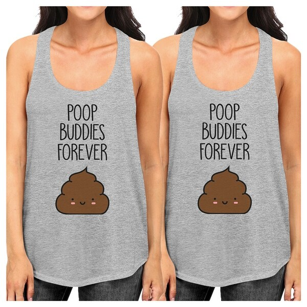 Poop Buddies Womens Grey BFF Matching Gift Tanks For Best Friends