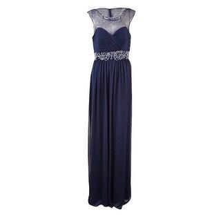 Xscape Women's Beaded Illusion Chiffon Gown - 12
