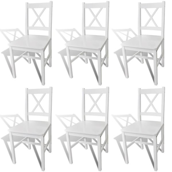 vidaXL Dining Chairs 6 pcs White Pinewood. Opens flyout.