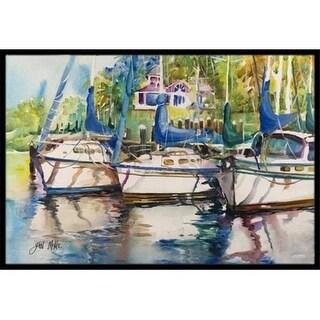 Carolines Treasures JMK1071MAT Safe Harbour Sailboats Indoor & Outdoor Mat 18 x 27 in.
