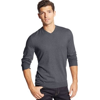 Club Room Cotton and Cashmere Blend V-Neck Sweater Charcoal Large - L