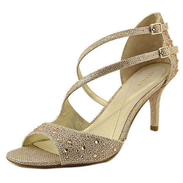 Alfani Cremena Women Open-Toe Synthetic Gold Heels