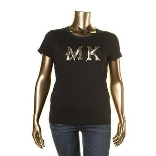 MICHAEL Michael Kors Womens Slub Sequined Casual Top