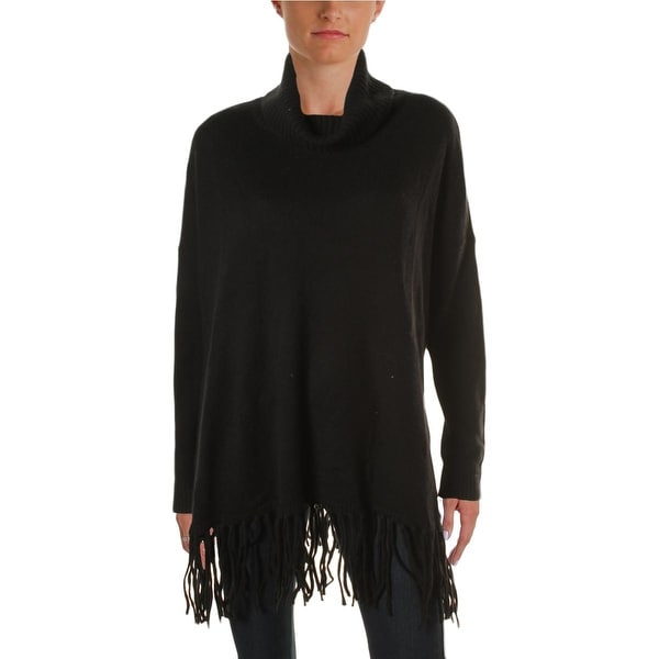 Lauren Ralph Lauren Womens Poncho Sweater Fringe Turtleneck