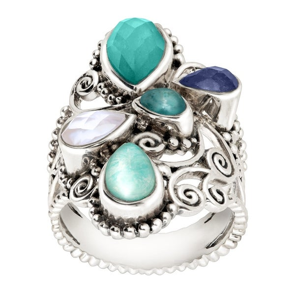 Sajen Ornate Natural Mother of Pearl, Amazonite Quartz Doublet Ring in Sterling Silver - Blue