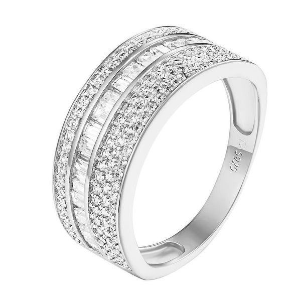 Baguette Channel Set Ring .925 Sterling Silver Engagement Bridal Cubic Zirconia
