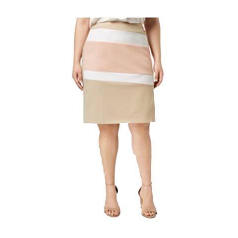Calvin Klein Plus Size Color Blocked Pencil Skirt, Beige Combo, 16W
