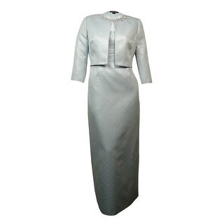 Tahari Women's Pearled Metallic Ruched Long Dress Suit - Ice blue