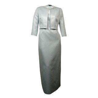 Tahari Women's Pearled Metallic Ruched Long Dress Suit