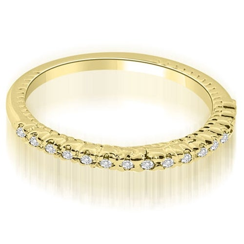0.24 cttw. 14K Yellow Gold Antique Style Round Cut Diamond Wedding Ring