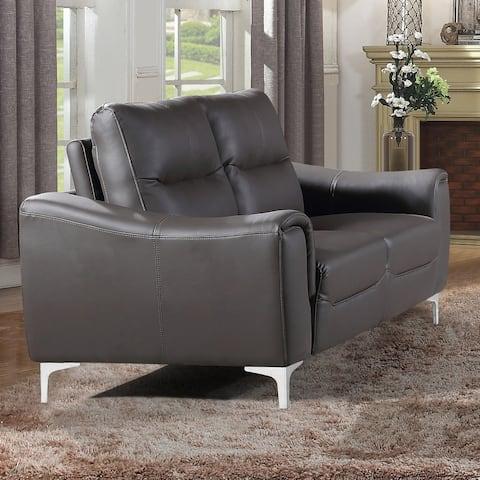 Strick & Bolton Vicente Grey Leather Gel Modern Loveseat