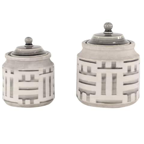 Large Round Black and Beige Ceramic Jars w Lids and Geometric Pattern Set of 2 - 7 x 7 x 10