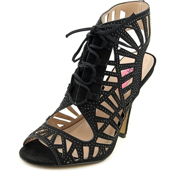 Betsey Johnson Lexxe Women Open Toe Canvas Black Sandals
