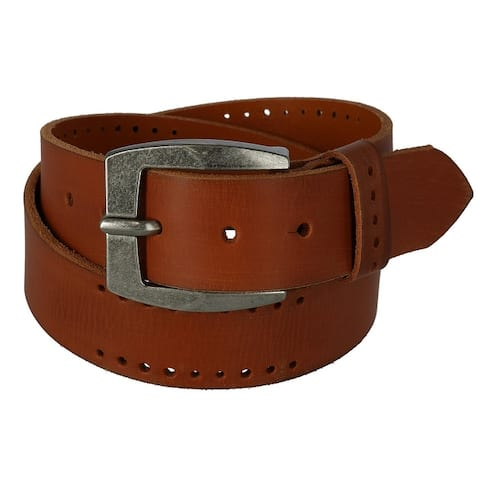 Toneka Men's Distressed Leather Bridle Belt with Perforations
