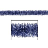 100' Decorative Gleam 'N Tinsel Shiny Blue and Silver Christmas Garland - Unlit