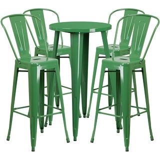 Brimmes 5pcs Round 24'' Green Metal Table w/4 Cafe Barstool