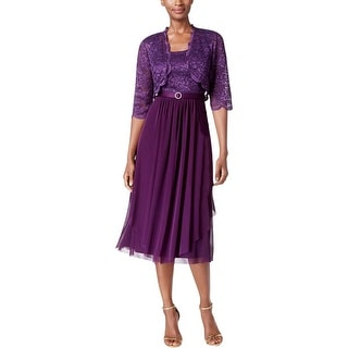 R&M Richards Womens Dress With Cardigan Mesh Glitter