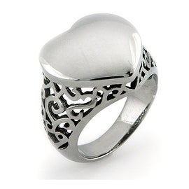 Stainless Steel Ladies' Heart Face Ring