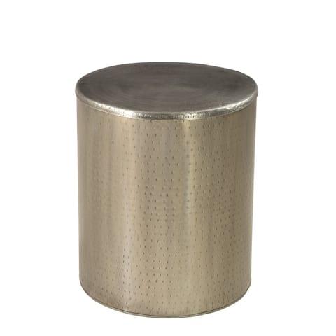 Rhu Home drum Alevi Silver Iron End Table