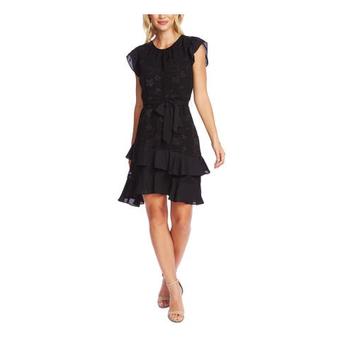 CECE Black Short Sleeve Above The Knee Dress XS
